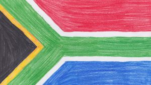 Childrens drawing of south african flag